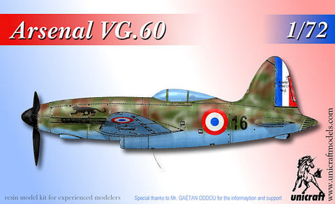 Unicraft 72134 - Arsenal VG.60 French late war advanced fighter - 1:72
