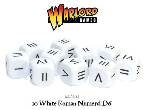 Warlord games - 10 White Roman Numeral D6