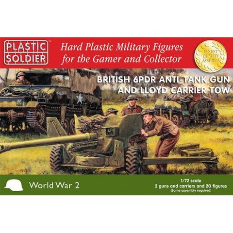 Plastic Soldier - British 6PDR Anti-tank gun and loyd carrier tow - 1:72 - WW2G20004