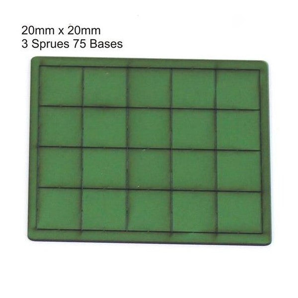 4GROUND - Green primed bases 20x20 mm (75) - PBG-2020