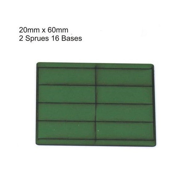4GROUND - Green primed bases 20x60 mm (16) - PBG-2060