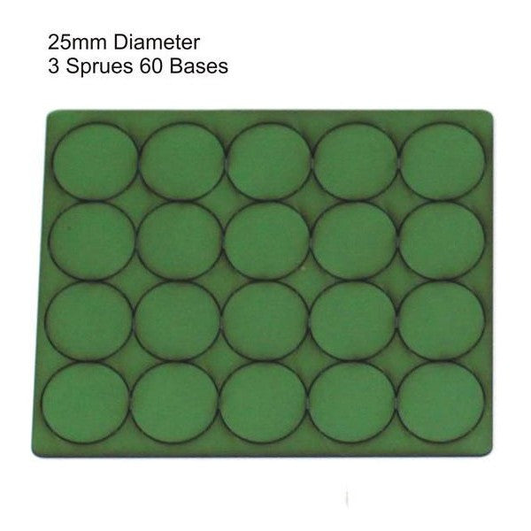 4GROUND - Green primed bases 25mm (60) - PBG-25D