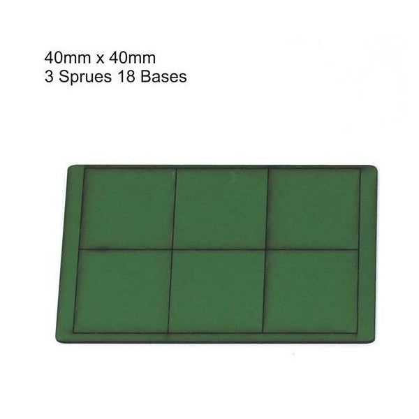 4GROUND - Green primed bases 40x40 mm (18) - PBG-4040