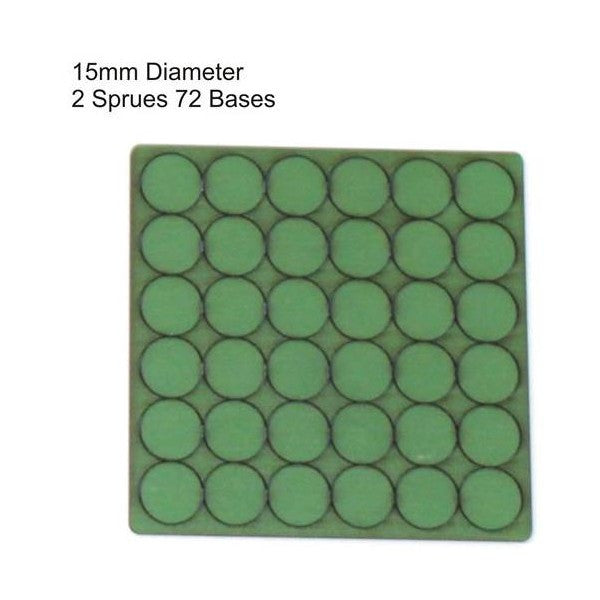 4GROUND - Green primed bases 15mm (72) - PBG-15D