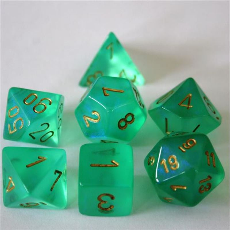 Chessex - Borealis light green w/gold - Polyhedral 7-Die Set - 27425