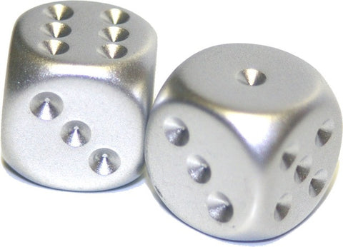 Chessex - 2 Silver plated - 16mm 2-Die set - 29007