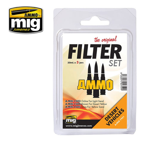Ammo of Mig - Filter set Desert vehicles(3 jars x 30ml)