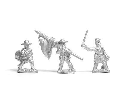 Essex - Command: Officer, Standard Bearer and Drummer, advancing - 15mm