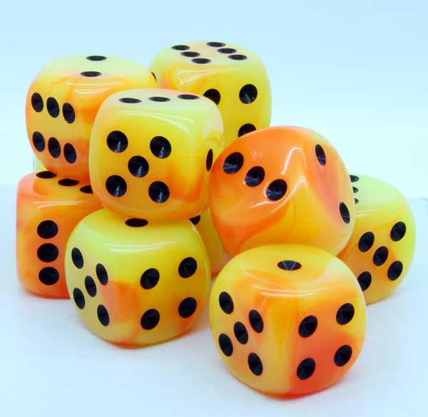 Chessex - Orange-Yellow w/black - Dice block (12mm) - 26842