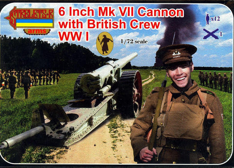 Strelets - 6 Inch Mk VII Cannon with British crew WWI - 1:72