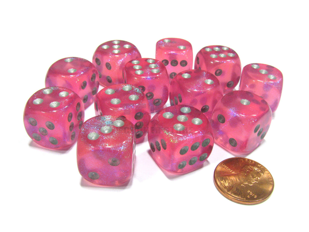 Chessex - Borealis Pink w/silver - Dice Block (16mm)