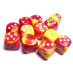 Chessex - Red-Yellow w/silver - Dice Block (16mm)