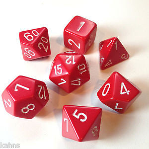 Chessex - Red w/white - Opaque - Polyhedral 7 die set - 25404