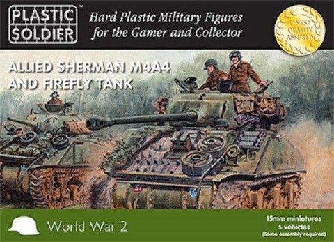 Plastic Soldier - Allied Sherman M4A4 and firefly tank - 15mm
