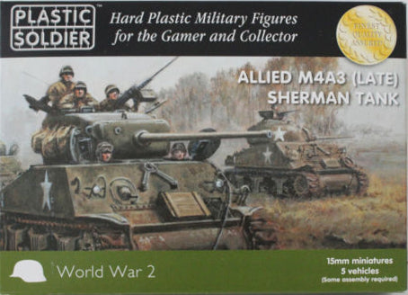 Plastic Soldier - Allied M4A3 (late) Sherman tank - 15mm