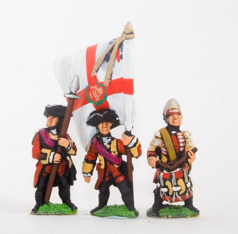 Essex - Command: Officer, Standard Bearer & Drummer - 15mm