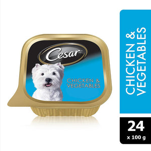 Cesar® Chicken and Vegetables Wet Dog Food Foil Tray (24 x 100 gm) - Sanadeeg