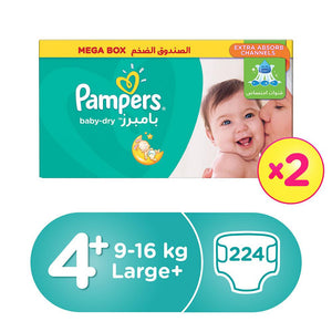 Pampers Active Baby Dry Diapers Megabox Size 4+ Dual Pack (2X112) - Sanadeeg
