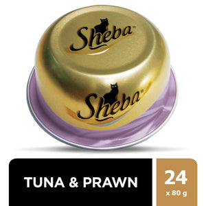 SHEBA® Dome Prime Cuts of Tuna and Prawn Wet Cat Food Can (24 x 80 gm)