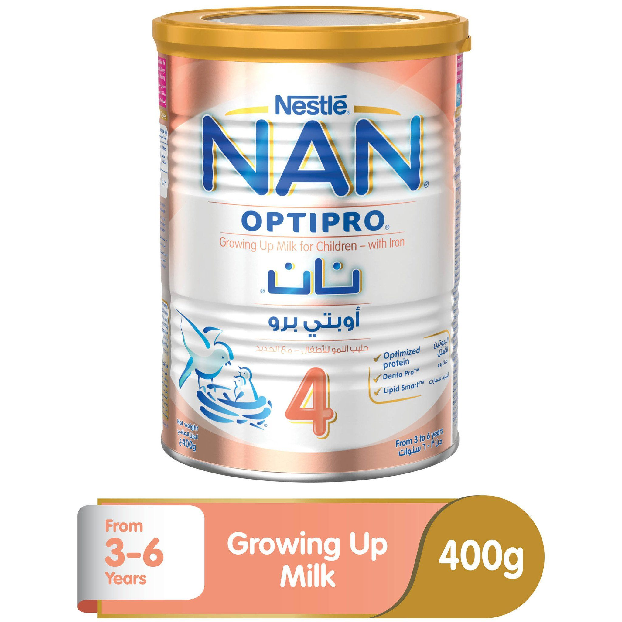 Nestlé® NAN® OPTIPRO® Stage 4 (3-6 Years Old) Premium Growing-up Formula Powder Tin 400g - Sanadeeg