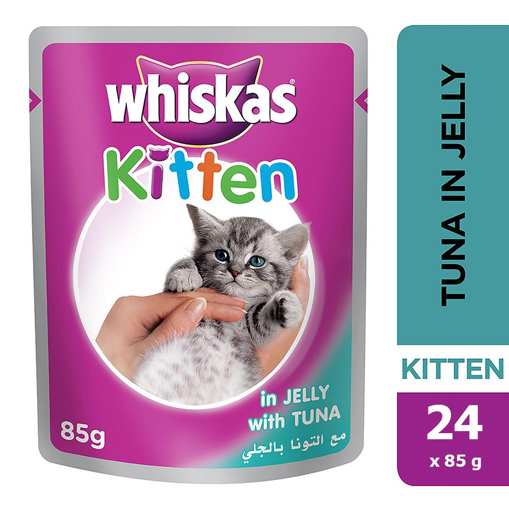 WHISKAS® In Jelly with Tuna Wet Cat Food Kitten Up to 1 year Pouches ( 24 x 85 gm)