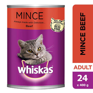 WHISKAS® Mince Beef Wet Cat Food Can (24 x 400 gm)