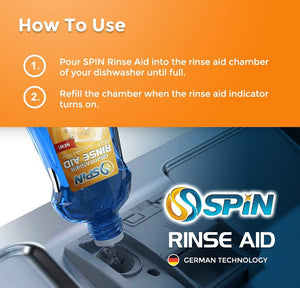 Spin Dishwasher Tablet All in 1 (5 x 28 Tabs) + Free Rinse Aid 1000 ml