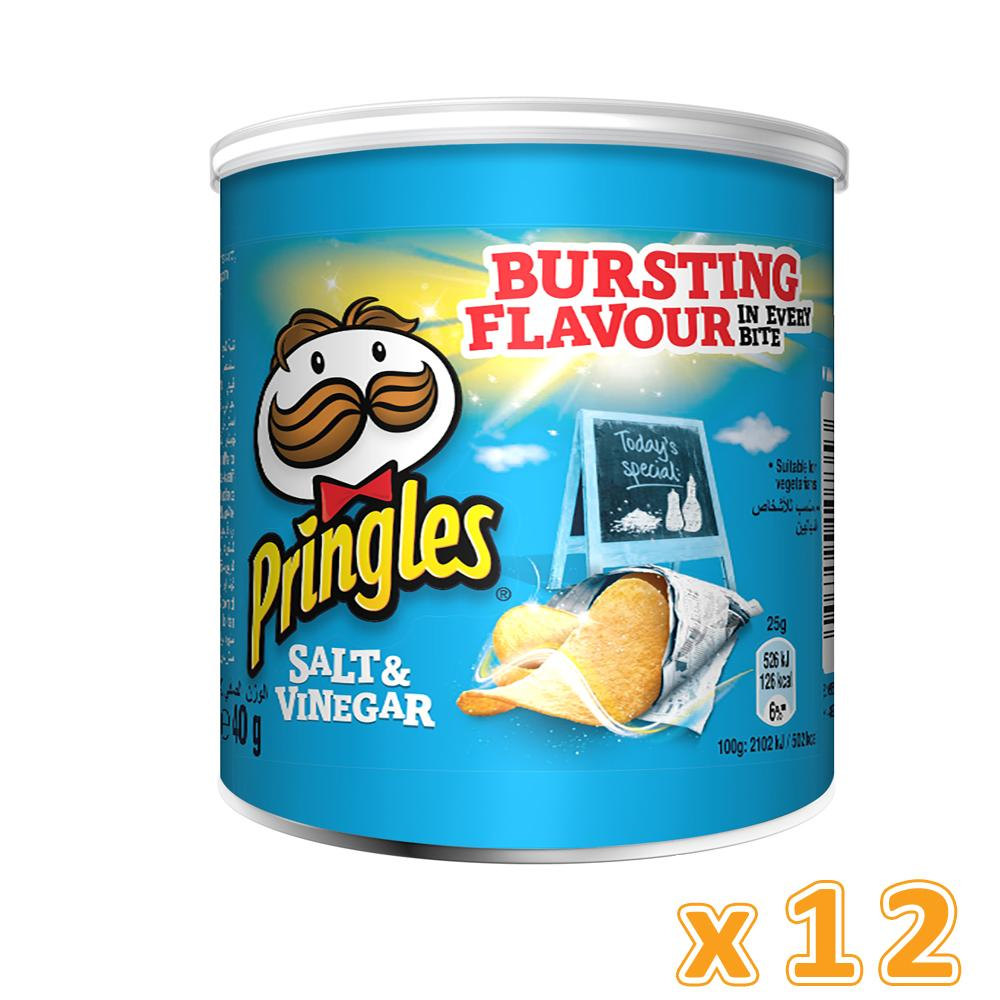 Pringles Salt & Vinegar Chips (12 x 40 Gm) - Sanadeeg