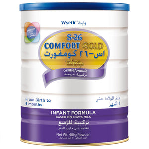 WYETH NUTRITION S26®COMFORT GOLD,  0-6 Months Premium Special Infant Formula for Babies Tin 400g - Sanadeeg