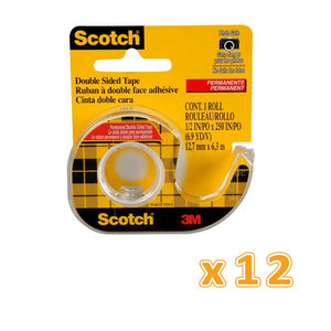 3M Scotch Double Sided Tape with Dispenser (1 X 12 Pcs) - Sanadeeg