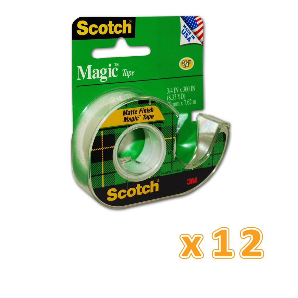 3M Scotch Magic Tape with Plastic Dispenser (1 X 12 Pcs) - Sanadeeg