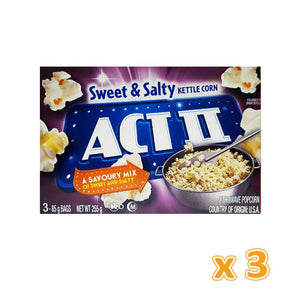 Act II Sweet & Salty Flavour Microwave Pop Corn  (3 x 255 gm) - Sanadeeg
