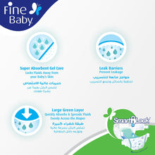 Fine Baby Super Dry - Smart Lock, Large 7-17Kgs, Dual Mega Pack (148 Diapers) - Sanadeeg
