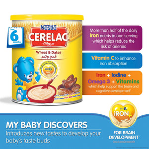 Nestlé® CERELAC® From 8 Months, Wheat and Date with Milk Infant Cereal Tin 400g - Sanadeeg