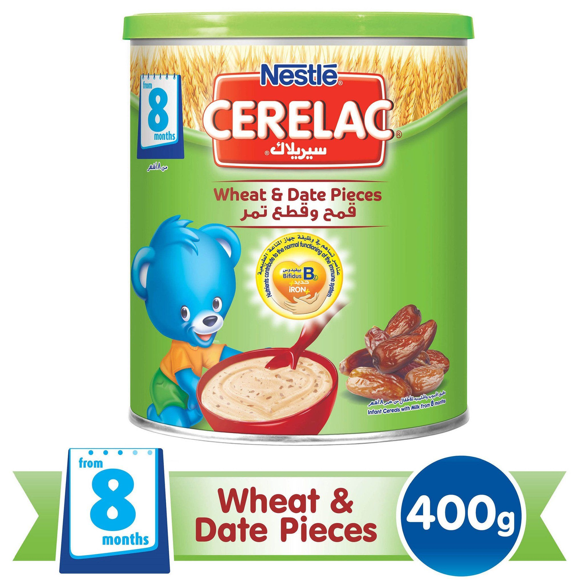 Nestlé® CERELAC® From 8 Months, Wheat and Date Pieces with Milk Infant Cereal Tin 400g - Sanadeeg