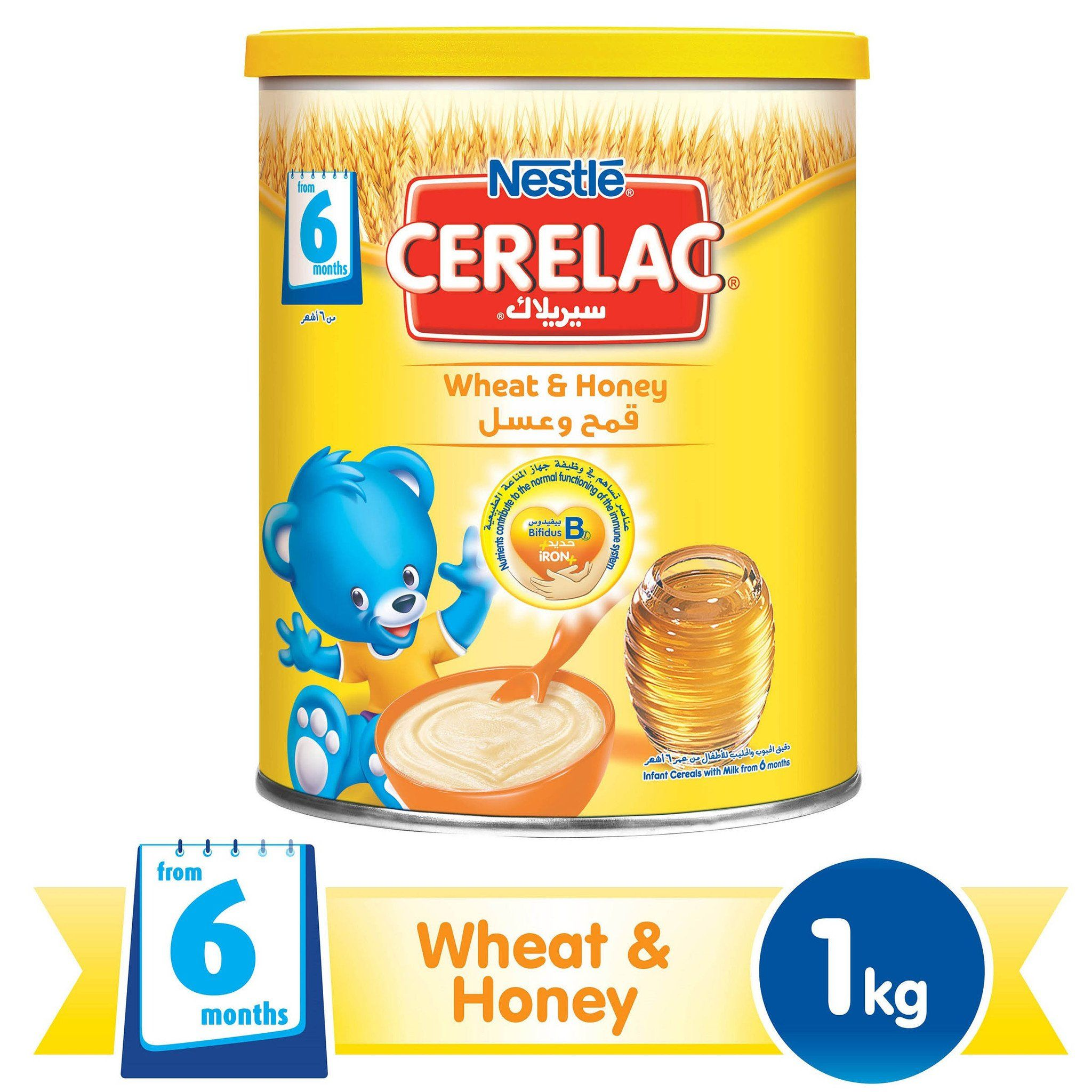 Nestlé® CERELAC® From 6 Months, Wheat and Honey with Milk Infant Cereal 1kg Tin - Sanadeeg