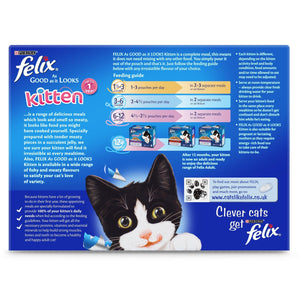 PURINA FELIX Kitten Wet Cat Single Serve As Good as it Looks, Up to 1 Year, Fish Selection (12 x 100 gm) - Sanadeeg