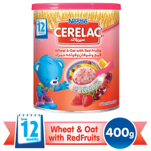 Nestlé® CERELAC® From 12 Months, Wheat and Oat with Red Fruits and Milk Infant Cereal 400g Tin - Sanadeeg