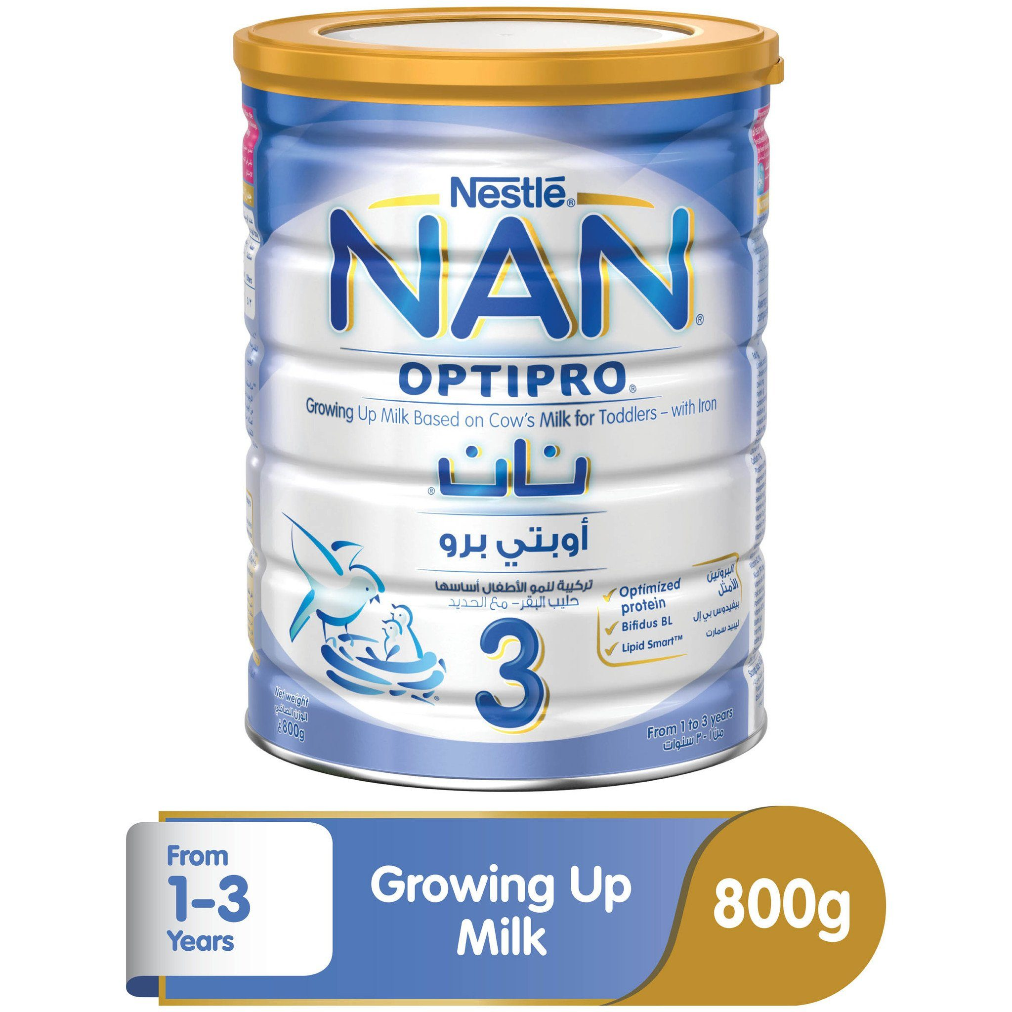 Nestlé® NAN® OPTIPRO® Stage 3 (1-3 Years Old) Premium Growing-up Formula Powder Tin 800g - Sanadeeg