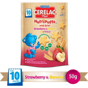 Nestlé® CERELAC® NutriPuffs™ from 10 Months, Strawberry and Banana Bag 50g - Sanadeeg