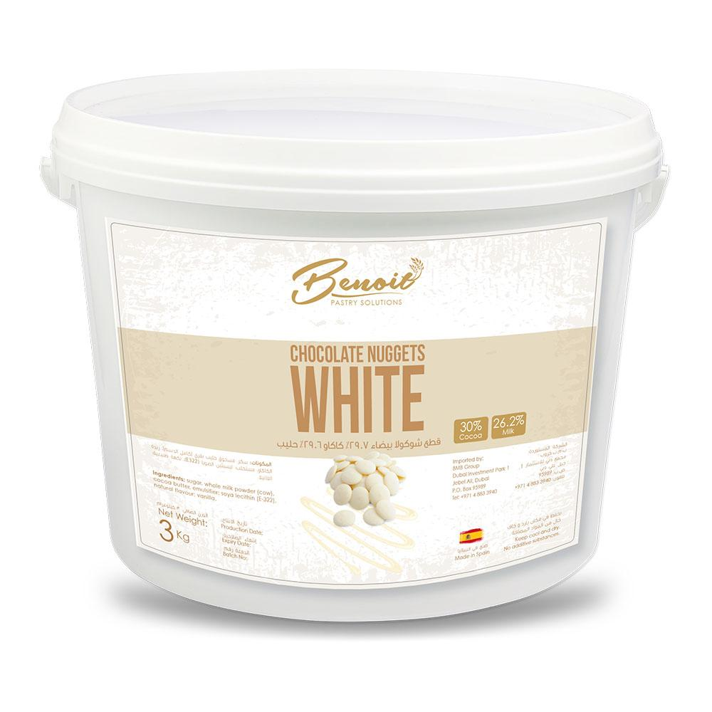 Benoit White Chocolate Nuggets 30% (3 KG) - Sanadeeg