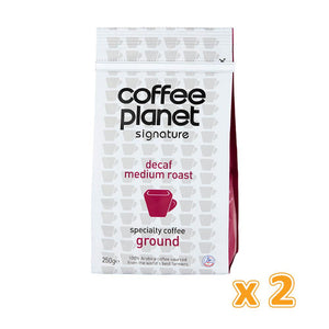 Coffee Planet Decaf Medium Roast Specialty Ground Coffee (2 x 250 gm)