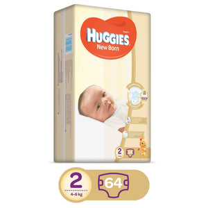 HUGGIES Diapers New Born Size 2 (2 x 64 Diapers) - Sanadeeg
