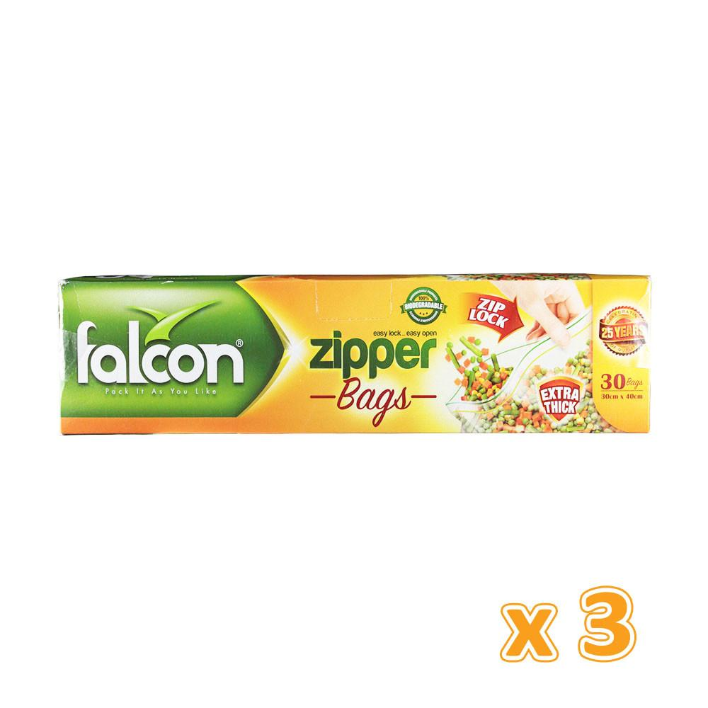Falcon Freezer Zipper Bag 40 X 30 CM  (3 x 30 bags) - Sanadeeg