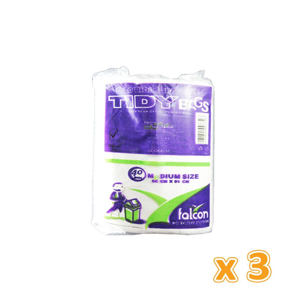 Falcon Tidy Garbage Bag White 51 x 66 cm (3 X 40 bags) - Sanadeeg
