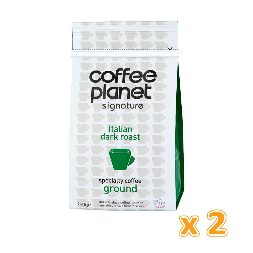 Coffee Planet Italian Dark Roast Specialty Ground Coffee (2 x 250 gm)
