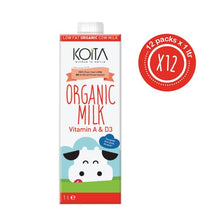 Koita Low Fat Organic Cow Milk (12 x 1L) - Sanadeeg