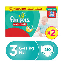 Pampers Pants Diapers, Size 3, Midi, 6-11 kg, Double Mega Box (210 Count)