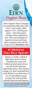 EDEN - Organic EDEN FLAX RICE SPIRALS 60% WHOLE GRAIN (3 X 340 gm) - Sanadeeg