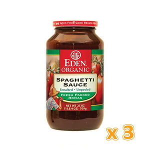 EDEN - Organic Spaghetti Sauce -No Salt Added Glass Jar (3 X 709 gm) - Sanadeeg